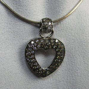 Vintage Pave Set CZ Silver Pendant Necklace